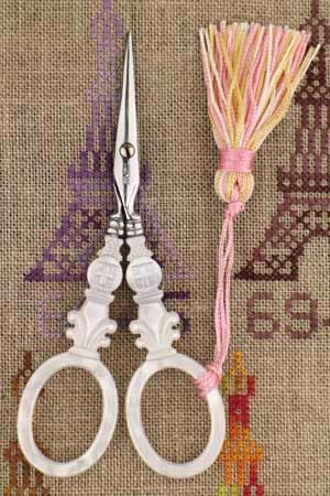 """Sajou mother of pearl style embroidery scissors - """"Cross"""" model"""