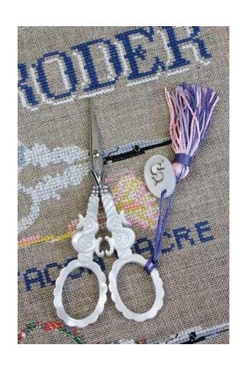 """Sajou """"S"""" mother of pearl embroidery scissors"""
