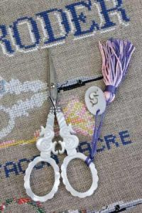 "Sajou ""S"" mother of pearl embroidery scissors"