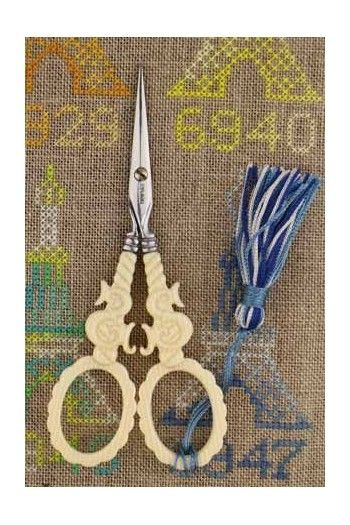 "Sajou veined ivory style embroidery scissors - ""S"" motif"