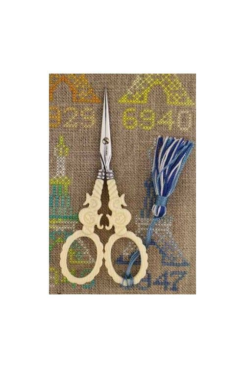 """Sajou veined ivory style embroidery scissors - """"S"""" motif"""