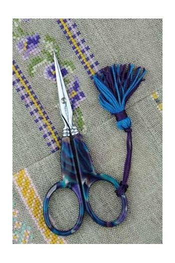 Ciseaux à broder Sajou façon onyx bleu