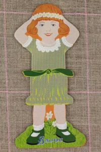 Front side of the Sajou little girl thread card (family 1) - Marie