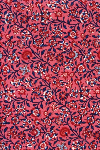 Indienne cotton fabric motif 2 on red base 110cm width