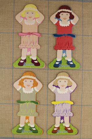 Little girl thread cards Complete family 1