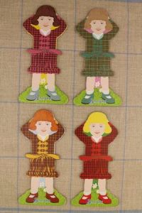 Little girl thread cards Complete family 2