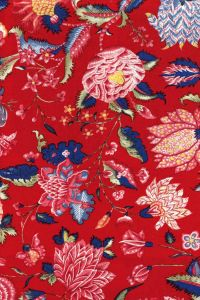 50 x 55cm swatch indienne fabric motif 1 on red base