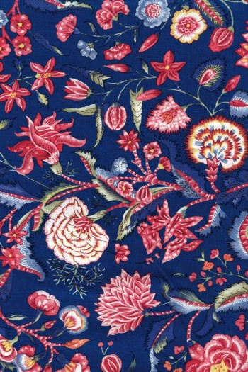 50 x 55cm swatch indienne fabric motif 1 on navy blue base