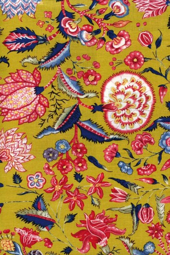 50 x 55cm swatch indienne fabric motif 1 on mustard base