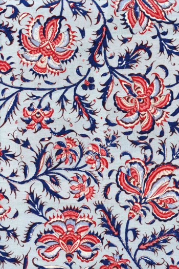 50 x 55cm swatch indienne fabric motif 3 on blue