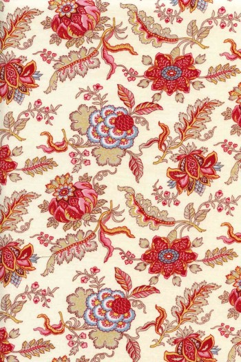 50 x 55cm swatch indienne fabric motif 5 on cream