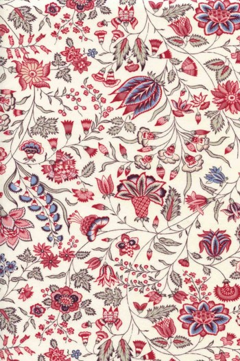 50 x 55cm swatch indienne fabric motif 6 on ecru