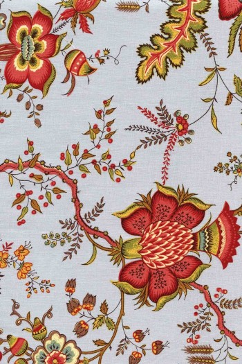 50 x 55cm swatch indienne fabric motif 8 on grey base