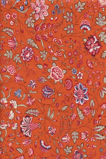 Coupon 55 cm x 50 cm tissu indienne motif 9 sur fond orange
