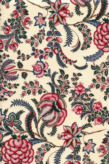 50 x 55cm swatch indienne fabric motif 10 on ecru base