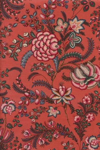 50 x 55cm swatch indienne fabric motif 10 on coral base