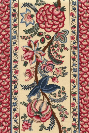 50 x 55cm swatch indienne fabric motif 11 on ecru base