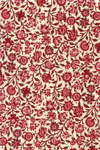 55 x 50cm swatch Indienne fabric motif 2 dark red on ecru base