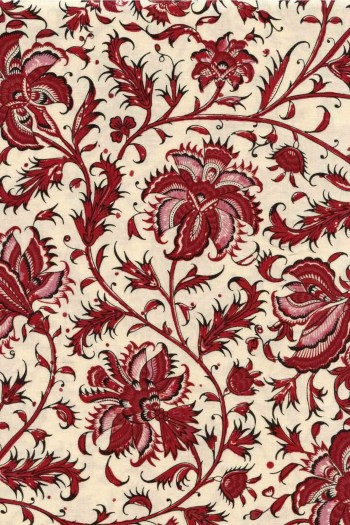 55 x 50cm swatch Indienne fabric motif 3 on ecru base