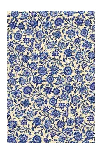 55 x 50cm swatch Indienne fabric motif 2 royal blue on ecru base