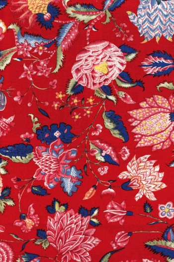 Metre of Sajou indienne cotton fabric motif 1 on red base 110cm width