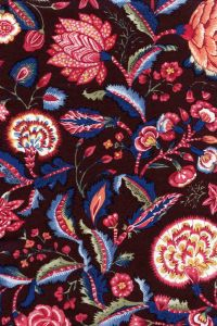 Indienne cotton fabric motif 1 on brown base 110cm width