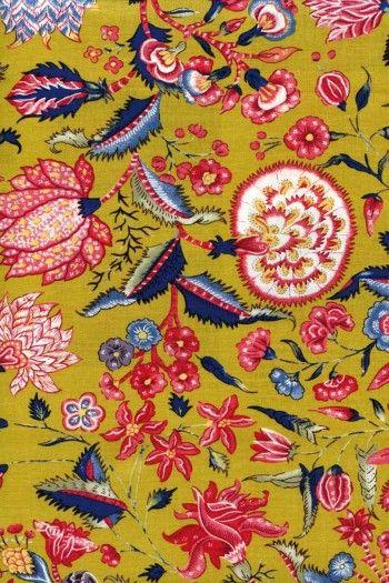 Indienne cotton fabric motif 1 on mustard base 110cm width