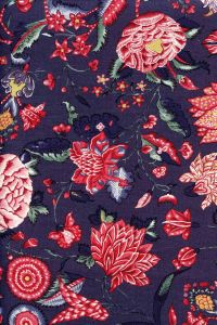 Indienne cotton fabric motif 1 on dark grey base 110cm width