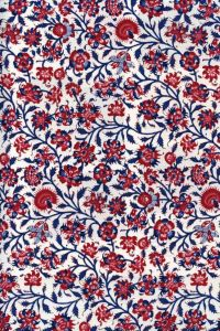Indienne cotton fabric motif 2 on cream base 110cm width