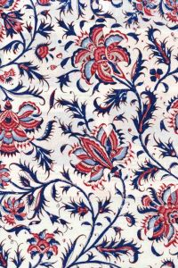 Indienne cotton fabric motif 3 on cream base 110cm width