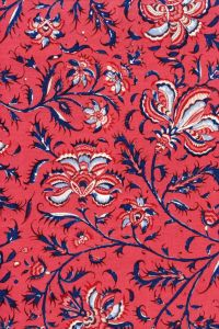 Indienne cotton fabric motif 3 on dark pink base 110cm width