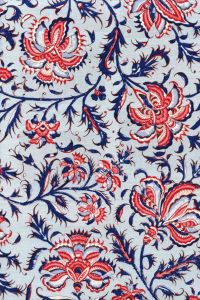 Indienne cotton fabric motif 3 on blue base 110cm width