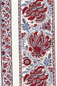Indienne cotton fabric motif 4 on cream base 110cm width