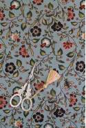 Sajou indienne cotton fabric motif 7 on blue base - size of the motif