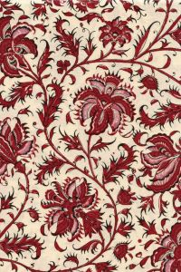Indienne cotton fabric motif 3 dark red 110cm width