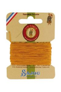 Fil Au Chinois waxed cable linen size 432 10m card - Colour 508 - Yellow