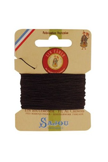 Fil Au Chinois waxed cable linen size 432 10m card - Colour 901 Dark brown