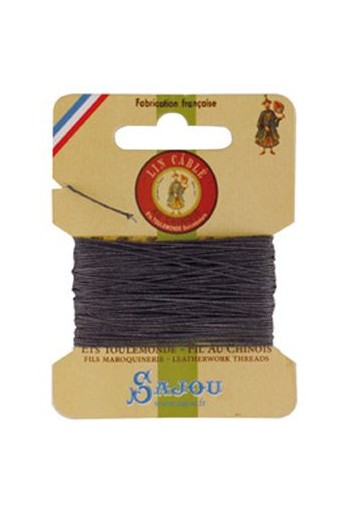Fil Au Chinois waxed cable linen size 432 10m card - Colour 872 Slate