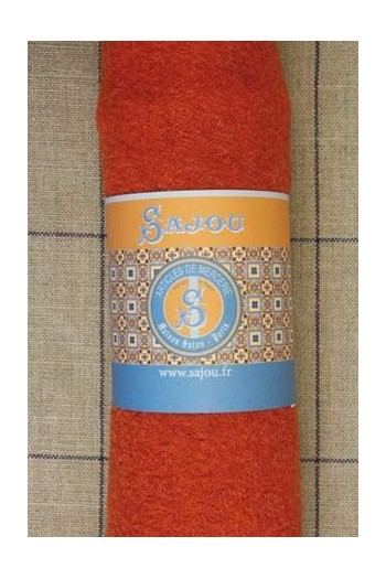 Coupon laine bouillie Sajou 50 x 70 cm - coloris Orange