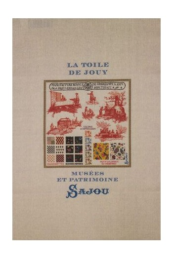 Sajou natural linen tea towel with our Toile de Jouy pattern chart