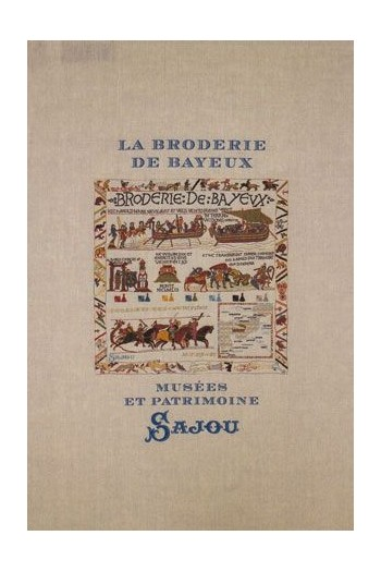 Sajou natural linen tea towel with our Bayeux embroidery pattern chart
