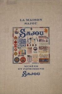 Natural linen tea towel with our Maison Sajou pattern chart