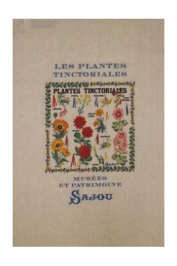 Sajou natural linen tea towel with our Tinctorial Plants pattern chart