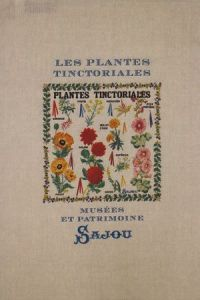 Sajou natural linen tea towel with our Tinctorial Plants pattern chart