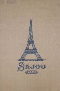 Sajou natural linen tea towel with a blue Eiffel tower