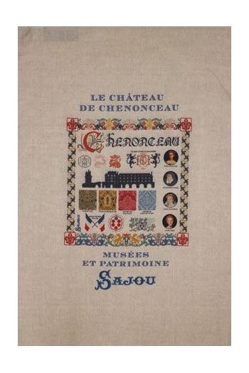 Sajou natural linen tea towel with our Château de Chenonceau pattern chart