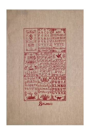 Sajou natural linen tea towel printed with our Sajou n°1 blue album