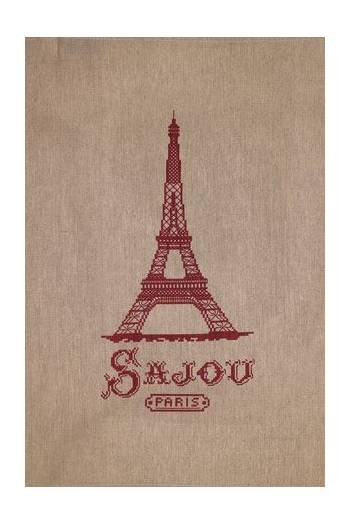 Sajou natural linen tea towel printed with a red Eiffel tower in cross stitch
