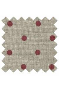 Sajou 11 threads per cm polka dot linen width 155cm dark red/string