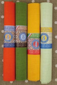 Buy together: four Sajou linen swatches in bright tones